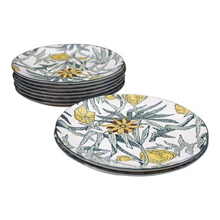 Tiffany & Co. Yellow Flowers by Mason's Hand Decorated Ironstone Plates - Set of 9 For Sale