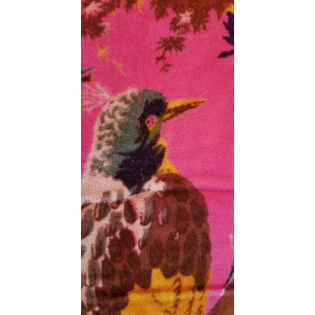 2010s 5 Yards Pink Bird Floral Chinoiseri Cotton Velvet Upholstery Fabric For Sale - Image 5 of 7