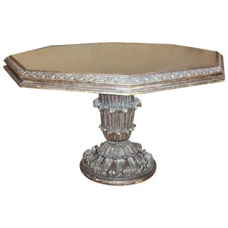 1950s Italian Modern Silver Leaf Carved Acanthus Giltwood Hexagonal Center Table For Sale