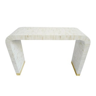 White Inlay Waterfall Console For Sale