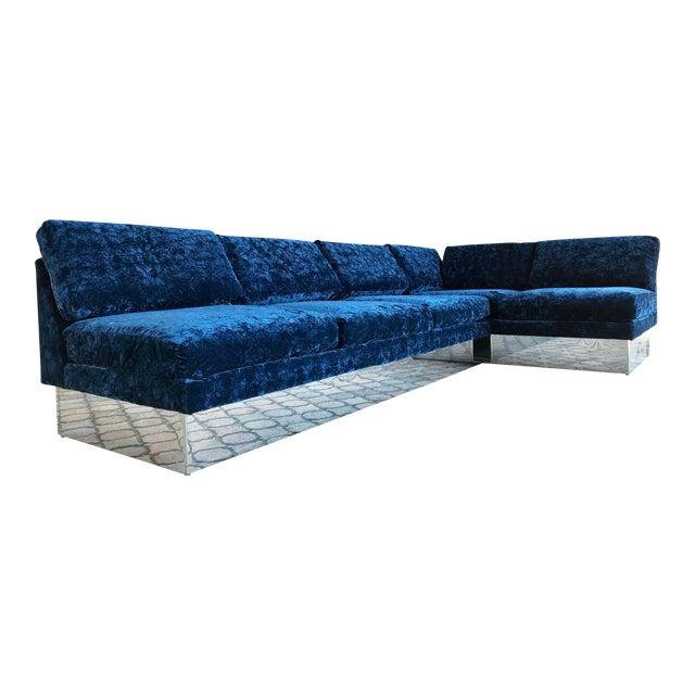 Milo Baughman for Thayer Coggin Sectional Sofa on Chrome Plinths ...