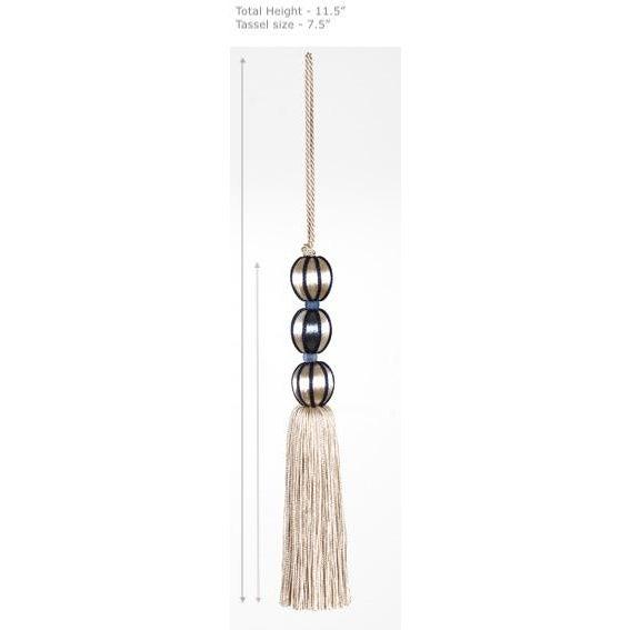 "Boho Chic Tall Marine Blue & Cream Beaded Key Tassel - H - 7.5"" For Sale - Image 3 of 8"