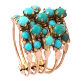 Image of Five Banded Prong Set Turquoise and Rose Gold Ring For Sale