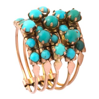 Five Banded Prong Set Turquoise and Rose Gold Ring For Sale