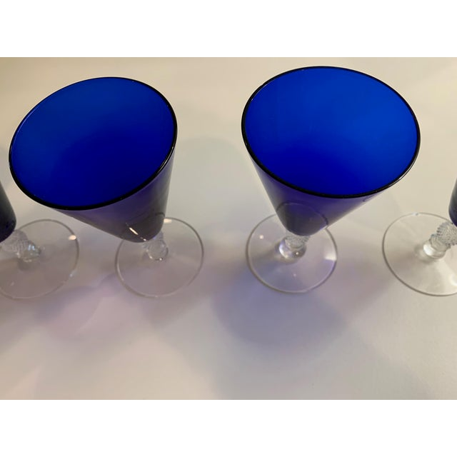 "Glass 1930's Morgantown Cobalt Blue and Crystal ""Golf Ball"" Footed Cordial Glasses - Set of 6 For Sale - Image 7 of 9"