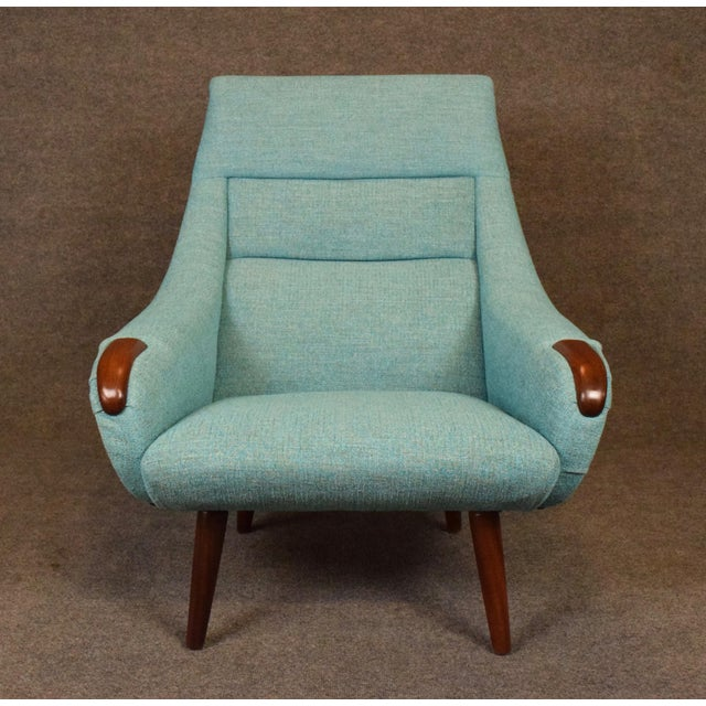Turquoise 1960s Vintage Danish Modern Lounge Chair For Sale - Image 8 of 11