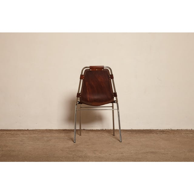 Les Arcs' chairs in tubular steel and cognac/reddish leather, France/Italy, 1970s. Patinated original leather. This...