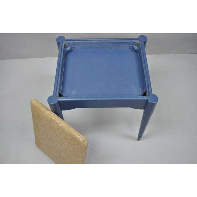 Danish Modern Vintage Mid-Century Modern Danish Style Blue Painted Piano Bench With Sewing Storage For Sale - Image 3 of 11