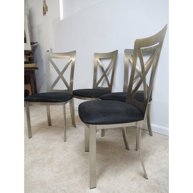 Vintage Stainless Industrial Style Dining Chairs Set Of 4 Chairish