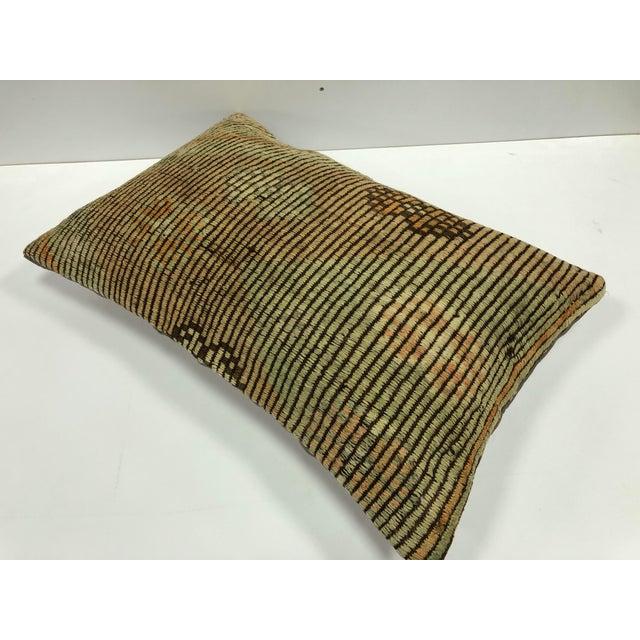 Islamic Nomadic Handmade Turkish Kilim Vintage Natural Lumbar Kilim Pillow Cover For Sale - Image 3 of 6