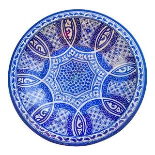 Blue Ceramic Wall Plate W/ Fine Motif For Sale