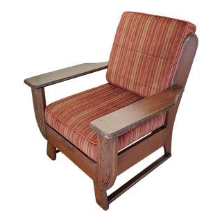 Vintage Cushman Rustic Cabin Style Club Chair with Red Stripped Upholstery For Sale