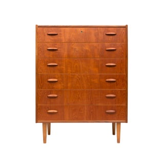 Vintage Danish Mid-Century Six Drawer Teak Tallboy For Sale