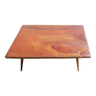 Japanese Keyaki Wood Coffee Table With Bowtie Keys For Sale