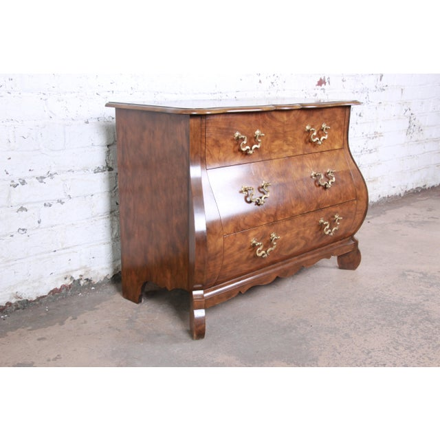 Late 20th Century Baker Furniture Burled Walnut Bombay Chest Commode For Sale - Image 5 of 13