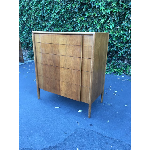 Drexel Mid Century Modern High Boy Dresser Chest of Drawers Parallel Collection by Barney Flagg for Drexel For Sale - Image 4 of 12