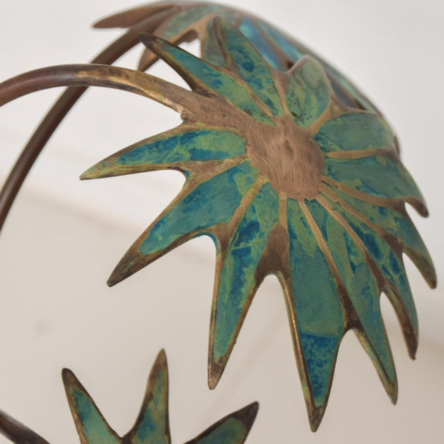 Metal 1950s Pepe Mendoza Palm Tree Table Lamp in Bronze & Malachite, Mexico For Sale - Image 7 of 11
