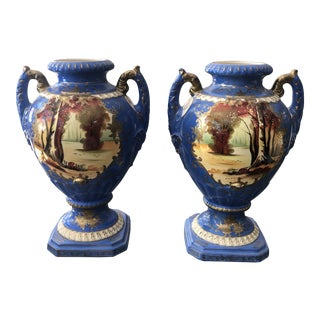 Two Season Hand Painted Vases - a Pair For Sale