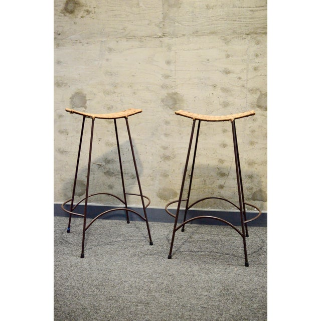 1960s Vintage Arther Umanoff Style Wicker & Iron Stools- A Pair For Sale - Image 9 of 9