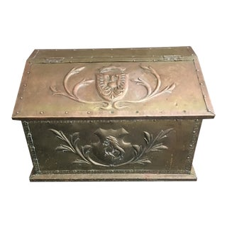 Antique English Brass Fire Wood Log Box For Sale