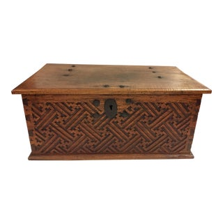 1960s Antique Moroccan Wood Carved Chest For Sale