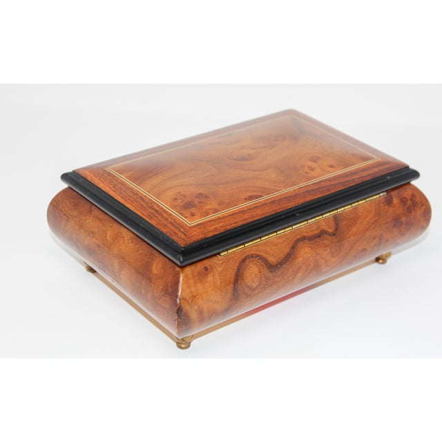 Footed Wooden Jewelry Music Box Made in Italy For Sale - Image 11 of 13