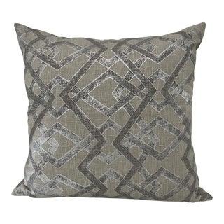 Cream & Silver Geometric Linen Pillow For Sale