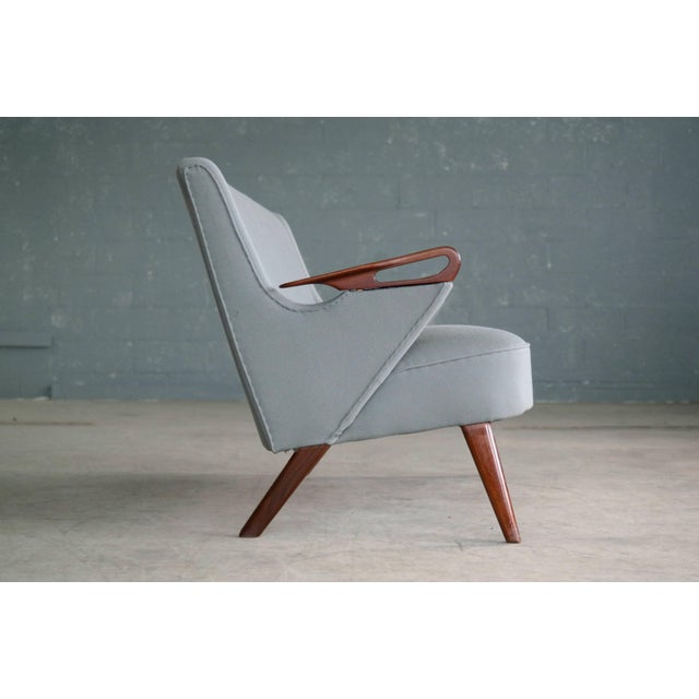 Sven Skipper Attributed 1950s Small Sofa in Wool and Teak Danish, Midcentury For Sale In New York - Image 6 of 11