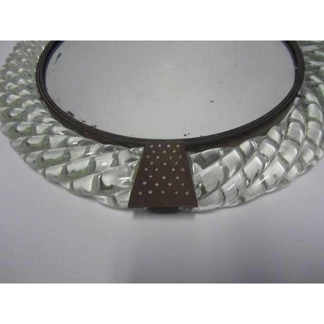 Gold Italian Murano Art Glass and Bronze Wall or Vanity Mirror For Sale - Image 8 of 10