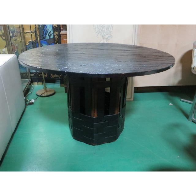 Mid Century Modern Faux Slate Dining Table With Leather Banding For Sale - Image 12 of 13