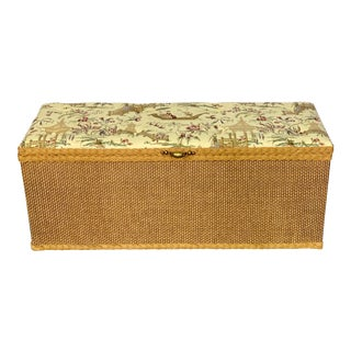 Vintage Redmon Chinoiserie Style Wicker & Upholstered Trunk For Sale