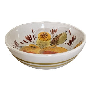 Hand Painted Assorted Fruit Design Studio Bowl - Signed For Sale