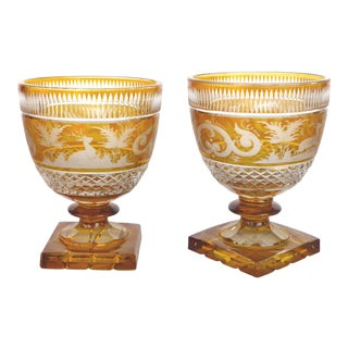 Bohemia Glass Cut Crystal Amber to Clear Goblets-A Pair For Sale