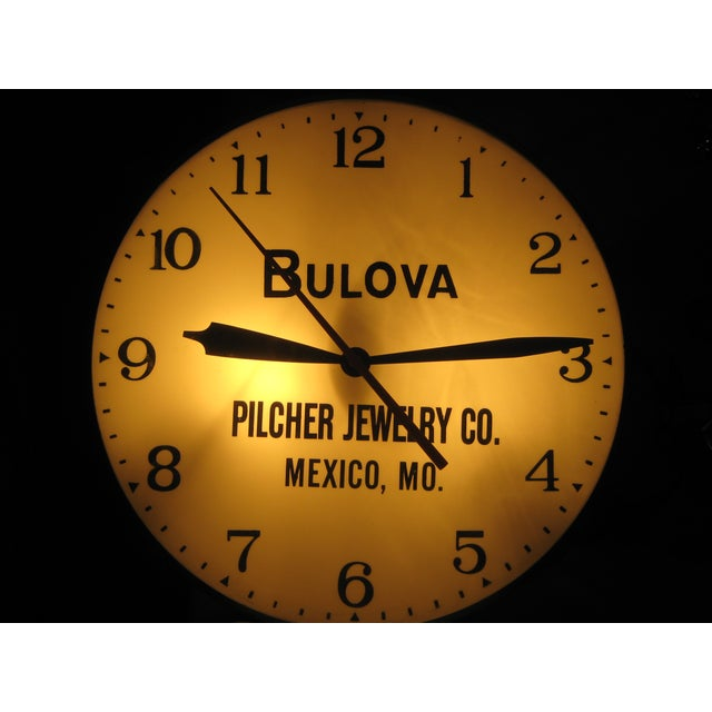 Mid-Century Modern Bulova Pilcher Jewelry Advertising Lighted Clock For Sale - Image 3 of 7