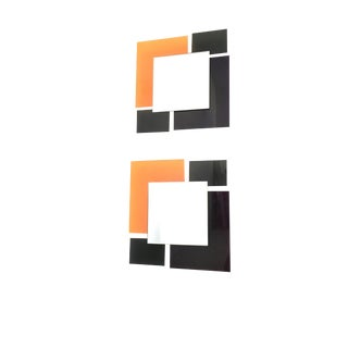 Pair of Black and Orange Wall Mirrors in the Style of Ettore Sottsass, 1980s