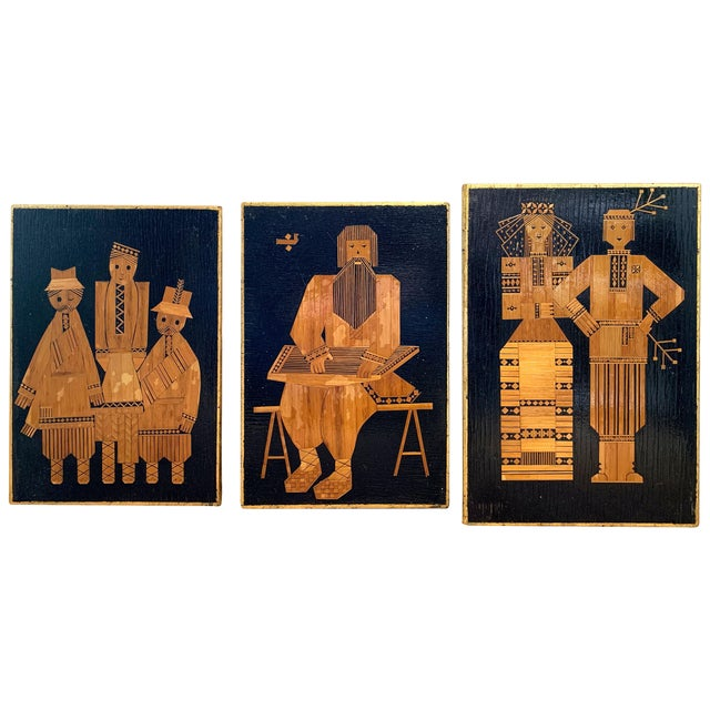 1960s Vintage Russian Folk Art Wall Plaques- 3 Pieces For Sale