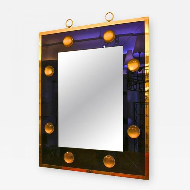 Andre Hayat rectangular mercury blue mirror with gold bronze frame.