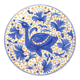 Hand Painted Spanish Bird Plate For Sale