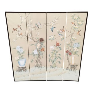 Chinoiserie Four Panel Painted Wallpaper Folding Screen For Sale