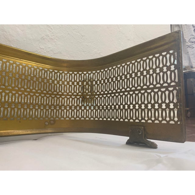 Vintage Brass Claw Foot Fireplace Fender For Sale - Image 11 of 13