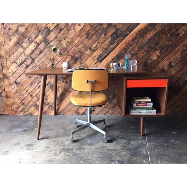 Mid-Century Modern Mid-Century Style Custom Walnut Desk For Sale - Image 3 of 10