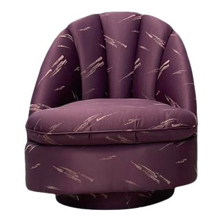 1980s Vintage Art Deco Tufted Swivel Chair