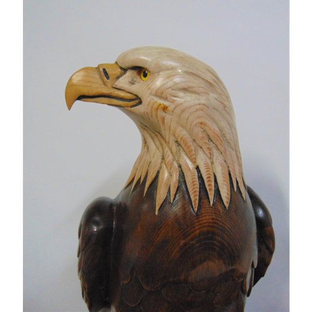 Hand Carved American Bald Eagle Statue For Sale - Image 4 of 7