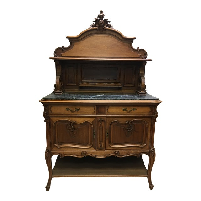 19th Century French Server Sideboard Hand Carved With Marble Top For Sale