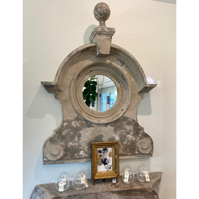 19th Century 19th Century French Zinc Oeil De Boeuf Mirror For Sale - Image 5 of 8