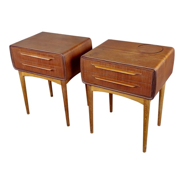 Johannes Andersen-Two Drawer Teak Bedside Tables-Mid Century Danish-A Pair For Sale