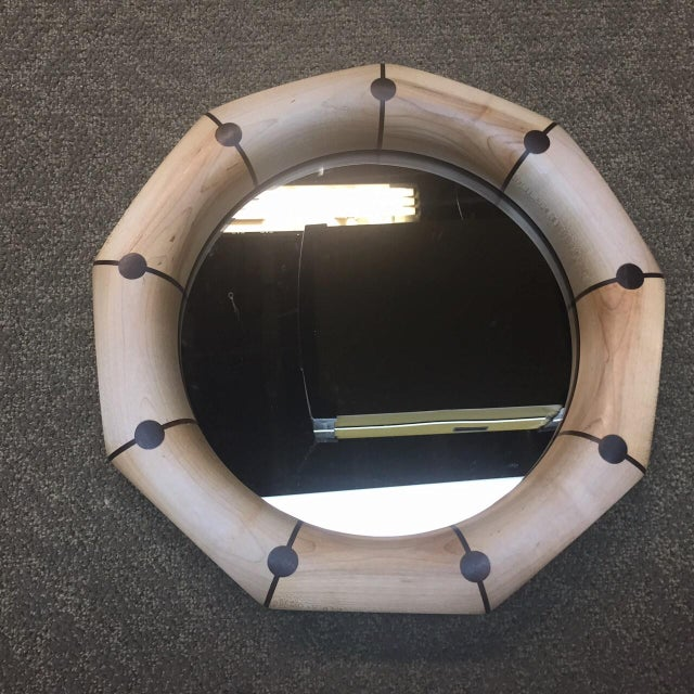 Modern Custom Geometric Mirror with Maple and Decorative Rosewood Inlay For Sale - Image 3 of 3