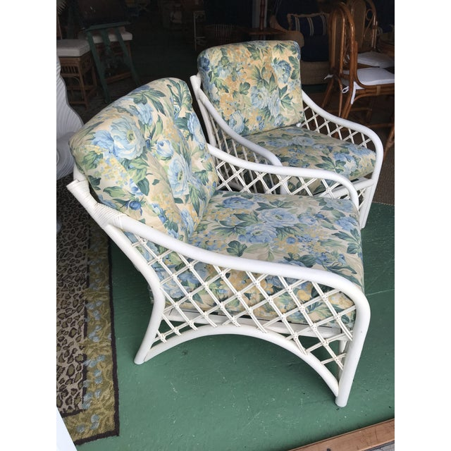 Vintage Coastal Criss Cross Rattan Lounge Chairs-A Pair For Sale - Image 10 of 11