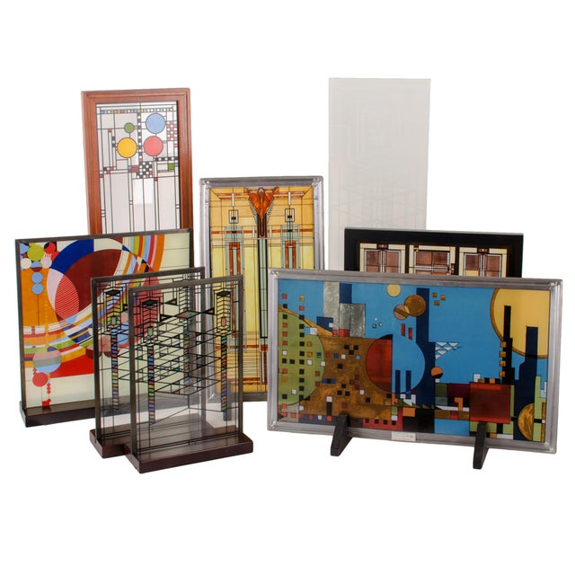 Blue Frank Lloyd Wright Stained Glass Panel Collection For Sale - Image 8 of 8