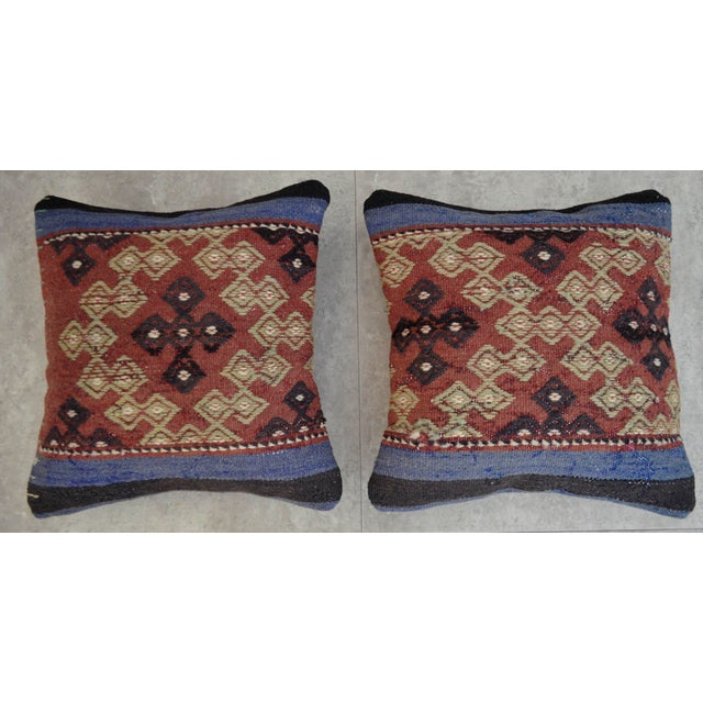 Vintage Turkish Kilim Pillow Covers - A Pair - Image 3 of 5